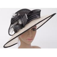 China 12cm Brim Sinamay Hats For Women With Feather , Black White Ladies Church Hats on sale