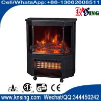 Wholesale Mobile electric fireplace heater  log flame effect Roman pillar EF332S wheels infrared quartz heating room/indoor heater from china suppliers