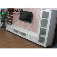 China Modern White Contemporary TV Wall Units Home MDF Board Furniture Storage Cabinets on sale