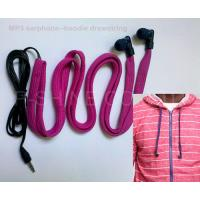 Wholesale NEW washable headphone for hoodie garment drawstrings waterproof MP3 earphone from china suppliers