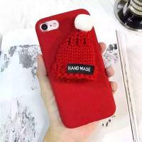 China DIY Korean Lovely Wool Christmas Hat Plush Cloth Winter Style Back Cover Cell Phone Case For iPhone 7 6s Plus on sale