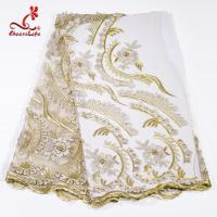 Wholesale Heavy Tulle Beaded Embroidered Lace Fabric For Bridal Dress Azo Free Dyeing from china suppliers