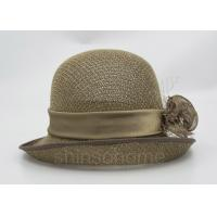 Fashionable Brown Mesh Bucket Beret Hat For Lady , Floriation Logo With Ribbon