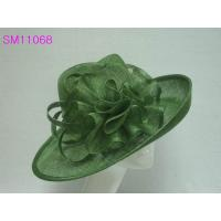 Wholesale Green Sinamay Ladies Fashion Hats Sinamay Stripe Bow Trimming from china suppliers