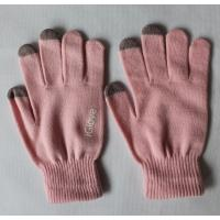 Wholesale Pink Touch Screen Gloves Logo Printed With Conductive Fingertips from china suppliers