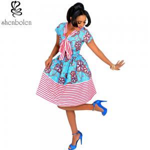 Wholesale Cotton African Print Dresses Women Ankara Striped Cloth Stitching Batik Printing Dress from china suppliers