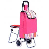 Wholesale Trolley Dolly with Seat 600D polyester Light Weight Trolley Bag Folding Chair Shopping Cart from china suppliers