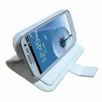 Wholesale Stand Wallet Leather Case for Samsung Galaxy SIII, with Magnetic Fastener from china suppliers