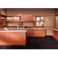 Wholesale Classic Wooden Grain Pvc Classic Design Kitchen Cabinet With Visible Handle from china suppliers