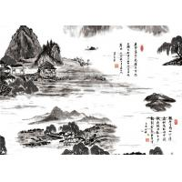 Quality Chinese Landscape Ancient Poetry Interior Room Wallpaper Hotel / TV Background Wallpaper for sale