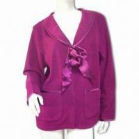 Wholesale Ladies Plain Fleece Bed Jacket, Edge of Picots and Center Front Satin Ties Outline Unique Mood from china suppliers