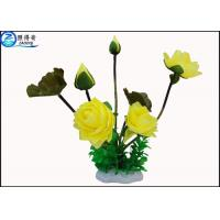 Wholesale Beautiful Yellow Rose / Lutos Flower Artificial Plastic Ornament Plant Eco Friendly from china suppliers