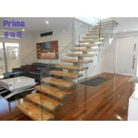 Wholesale interior wooden staircase design with frameless glass railing from china suppliers