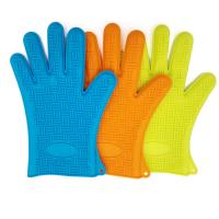 Wholesale Colorful Heat Resistant Oven Gloves With Fingers / Ageing Resistant Silicone Rubber Oven Gloves from china suppliers