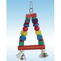 Wholesale wooden bird toy bird swing made with colorful wooden pieces and bells from china suppliers