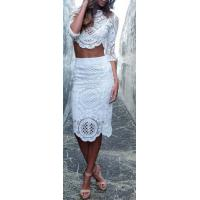 Wholesale Comfortable All White Two Piece Outfit Half Sleeve For Summer from china suppliers