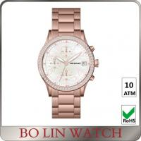 Wholesale Pink Dial Shine Diamond Ladies Stainless Steel Watch Chronograph Circles from china suppliers