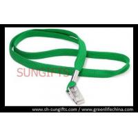Wholesale Plain green woven lanyard with nickle plated bulldog clip from china suppliers