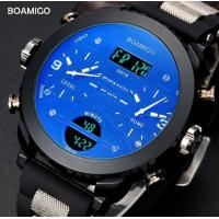 Buy cheap Boamigo Men Three Time Big Dial Pan Blue Glass Rubber Band Multifunction Chronograph Casual Sport Watch  F905 from wholesalers