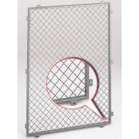 A grey powder coated crimped wire mesh panel with steel frame and there are ten tabs on the frame.
