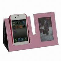 Wholesale Fashionable PU Picture Frame with Cell Phone Holder, Ideal for Business Gift, OEM Orders are Welcome from china suppliers