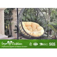 Wholesale Long Oval Outdoor Hanging Swing Chair With Cushion Rattan Garden Furniture from china suppliers