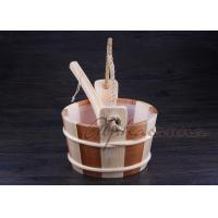 Quality Smoothy Carved  Sauna  Pail Bucket and Spoon Set with Liner For Dry Sauna Room Accessories for sale