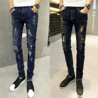 Quality Korean Style Black Distressed Mens Tapered Jeans With Patches Light Blue Color for sale