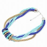 China Fashionable Spring Necklace, Decorated with Acrylic Beads and Nylon Braided Cords, Fashion Design on sale
