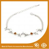 Wholesale Crystal Silver Personalized Metal Chain Bracelet , Engraved Metal Bracelets from china suppliers