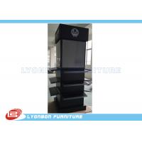 Quality Four - Sides Black MDF Display Stand With Digital Printing LOGO / Stick Graphics for sale