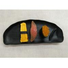 Buy cheap Half-moon Black Melamine Plate Imitation Porcelain Dinnerware Sets Length 27cm from wholesalers