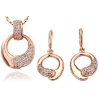 China Rose Gold  Ladies Jewelry Sets Earrings And Necklace Crystal Jewelry Sets on sale