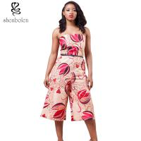 Wholesale Sexy Womens African Style Print Overalls Jumpsuit Fashion Strapless High Waist from china suppliers