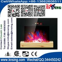 Quality Wall Mounted Electric Fireplace Heater digit display flat tempered glass black LED flame (Pebbles Fuel) EF550/EF551 for sale