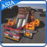 Wholesale Inflatable 5 in 1 Fire Rescue Truck Bouncer Obstacle Challenges With Double Slide from china suppliers