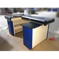Wholesale Metal Steel Supermarket Cash Counter With Conveyor Belt / Cash Counter For Retail Store from china suppliers