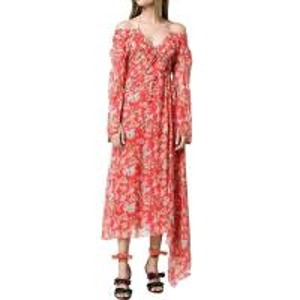 China Custom Silk Asymmetrical Hem Floral Print Off-the-Shoulder Maxi Dress on sale