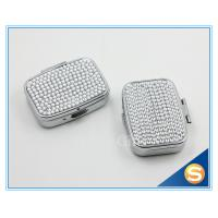 Wholesale Shinny Gifts Silver Plating Diamond Design Metal Pill Box Traveling Pill Box for Promotional Gifts from china suppliers