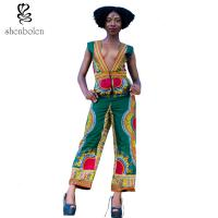 Wholesale Deep V Neck Sleevless African Wear Print Jumpsuit Designs For Womens / Ladies from china suppliers