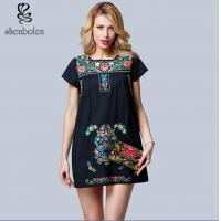 Wholesale Mini Length Womens Embroidered Floral Dress Short Sleeve Casual Dress from china suppliers