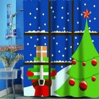 Wholesale Printed Waterproof Christmas Bathroom Shower Curtain, Available in Various Designs and Colors from china suppliers