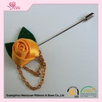 Wholesale 3.5cm red rose lapel pin Ribbon Rosette Flower , wedding lapel pins washable from china suppliers