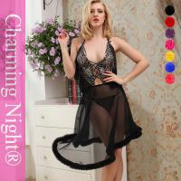 Wholesale Women See Through sexy long night dress lingerie long gowns with fur trim from china suppliers