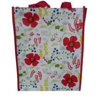 Wholesale Waterproof 140g Red Flower Shining PP Shopping Bag With Nylon Handle, Customized Logo from china suppliers