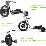 Wholesale Three Wheel Powerful Electric Bike , Motorized Adults Powered Drift Trike from china suppliers