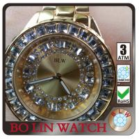 Wholesale Classic Chunky Quartz Mens 24k Gold Watch , Date Display Gold Chain Silver Watch from china suppliers