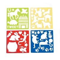 China Plastic Pet Stencils - Includes Dogs, Cats, Lizards, Rabits, Bird Cages, Turtle, Paw Print on sale