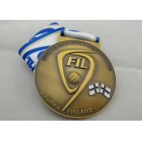 Wholesale FIL U-19 Copper / Zinc Alloy / Pewter World Championship Ribbon Medals with Die Casting from china suppliers