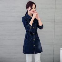 Wholesale Customized Pattern Womens Jean Jackets , Classic Elegant Style Long Denim Jacket from china suppliers